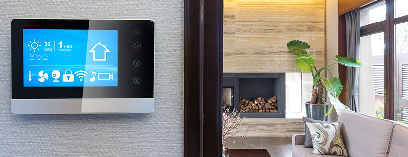 Interior of Home Upgraded with Smart Home Technology