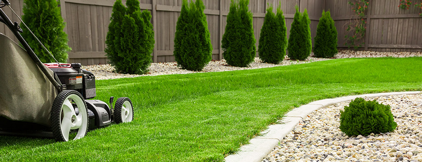 Person Mowing Lawn to Boost Curb Appeal for Home Appraisal