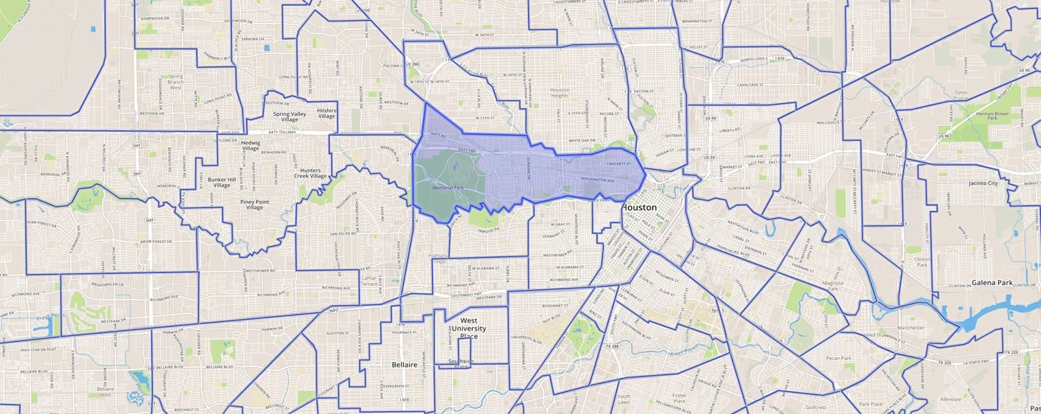 map showing the neighborhood boundaries in houston
